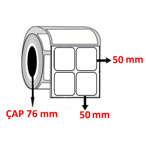 Kuşe 50 mm x 50 mm YY2 Lİ Barkod Etiketi ÇAP 76 mm ( 6 Rulo )