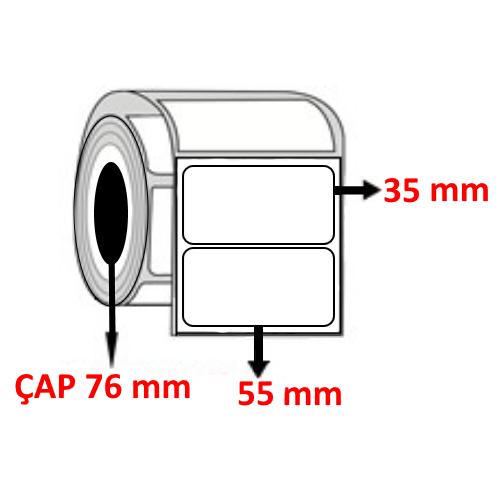 Kuşe 55 mm x 35 mm Barkod Etiketi ÇAP 76 mm ( 6 Rulo ) 27.000 ADET