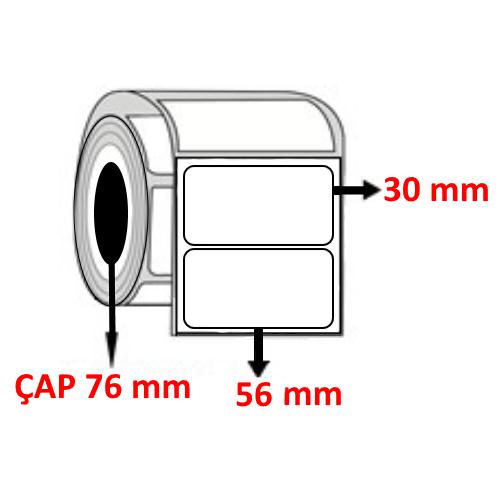 Kuşe 56 mm x 30 mm Barkod Etiketi ÇAP 76 mm ( 6 Rulo ) 30.000 ADET