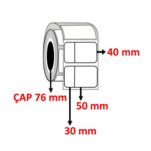 Kuşe 80 mm x 40 mm ( 30/50 ) Barkod Etiketi ÇAP 76 mm ( 6 Rulo ) 18.000 ADET