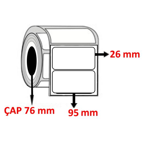 Kuşe 95 mm x 26 mm Barkod Etiketi ÇAP 76 mm ( 6 Rulo )