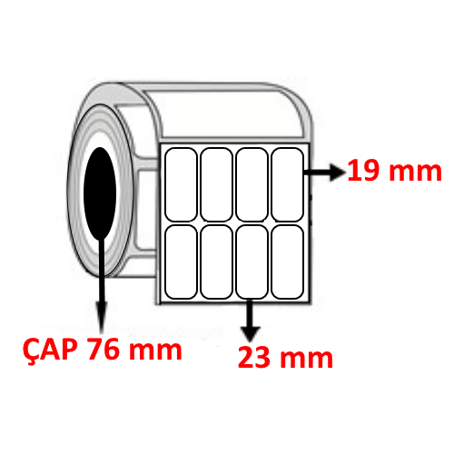 Silver Mat 23 mm x 19 mm YY4 LÜ Barkod Etiketi ÇAP 76 mm ( 6 Rulo ) 32.400 ADET