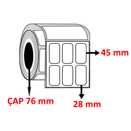 Silver Mat 28 mm x 45 mm  YY3 LÜ Barkod Etiketi ÇAP 76 mm ( 6 Rulo ) 45.000 ADET