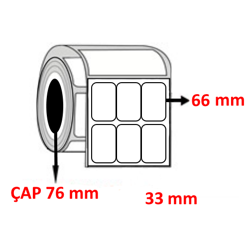 Silver Mat 33 mm x 66 mm YY3 LÜ Barkod Etiketi ÇAP 76 mm ( 6 Rulo ) 36.000 ADET 36.000 ADET