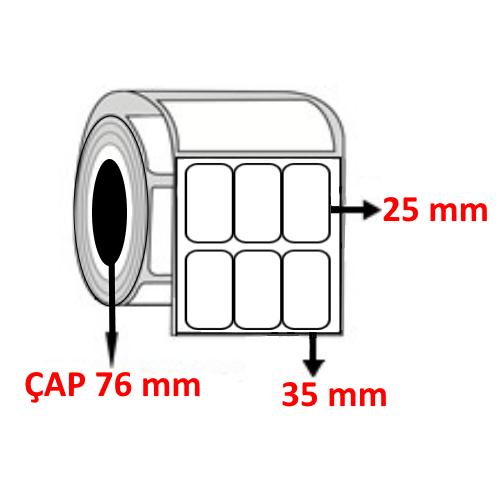 Silver Mat 35 mm x 25 mm YY3 LÜ Barkod Etiketi ÇAP 76 mm ( 6 Rulo )