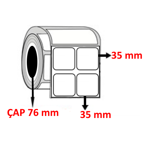 Silver Mat 35 mm x 35 mm YY2 Lİ Barkod Etiketi ÇAP 76 mm ( 6 Rulo ) 30.000  ADET