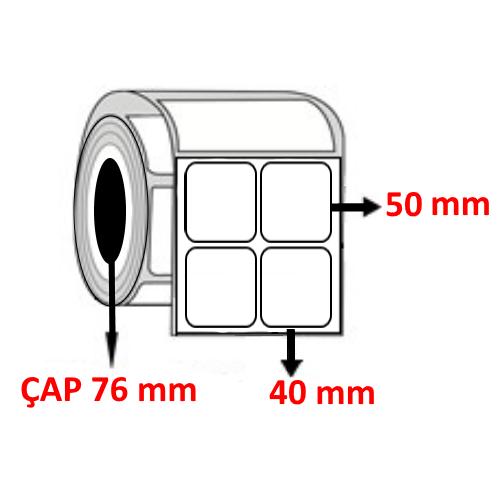 Silver Mat 40 mm x 50 mm YY2 Lİ Barkod Etiketi ÇAP 76 mm ( 6 Rulo ) 30.000  ADET