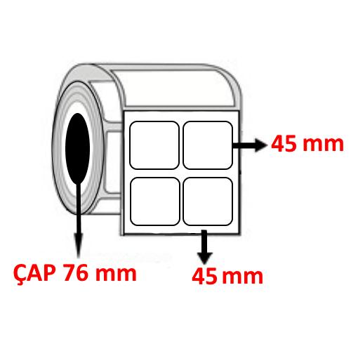 Silver Mat 45 mm x 45 mm YY2 Lİ Barkod Etiketi ÇAP 76 mm ( 6 Rulo )