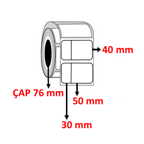 Silver Mat 80 mm x 40 mm ( 30/50 ) Barkod Etiketi ÇAP 76 mm ( 6 Rulo ) 18.000 ADET