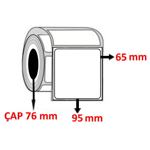 Silver Mat 95 mm x 65 mm Barkod Etiketi ÇAP 76 mm ( 6 Rulo )
