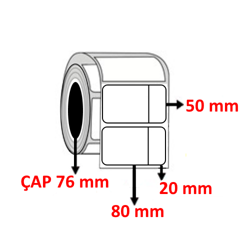 Vellum 100 mm x 50 mm ( 80+20 ) Barkod Etiketi ÇAP 76 mm ( 6 Rulo ) 18.000 ADET