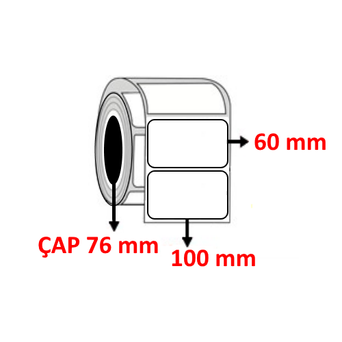 Vellum 100 mm x 60 mm Barkod Etiketi ÇAP 76 mm ( 6 Rulo )