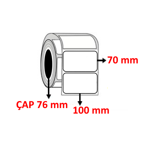 Vellum 100 mm x 70 mm Barkod Etiketi ÇAP 76 mm ( 6 Rulo ) 12.000 ADET
