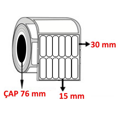 Vellum 15 mm x 30 mm YY6 LI Barkod Etiketi ÇAP 76 mm ( 6 Rulo )