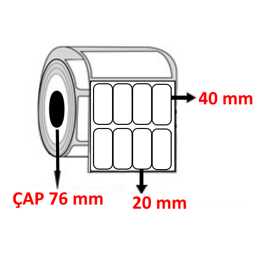 Vellum 20 mm x 40 mm YY4 LÜ Barkod Etiketi ÇAP 76 mm ( 6 Rulo ) 84.000 ADET