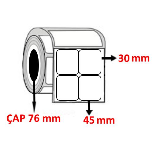 Vellum 45 mm x 30 mm YY2 Lİ Barkod Etiketi ÇAP 76 mm ( 6 Rulo ) 60.000 ADET
