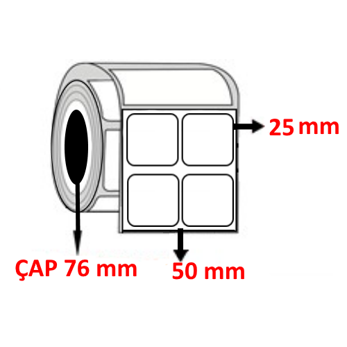 Vellum 50 mm x 25 mm YY2 Lİ Barkod Etiketi ÇAP 76 mm ( 6 Rulo )