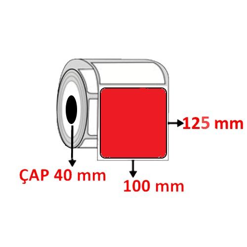 Kırmızı Renkli 100 mm x 125 mm Barkod Etiketi ÇAP 40 mm ( 6 Rulo ) 2.400 ADET