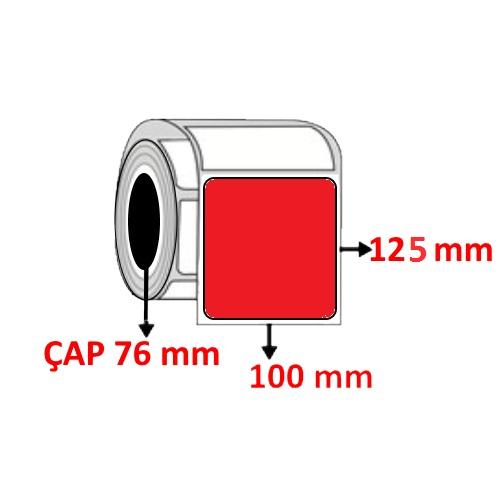 Kırmızı Renkli 100 mm x 125 mm Barkod Etiketi ÇAP 76 mm ( 6 Rulo ) 7.200 ADET