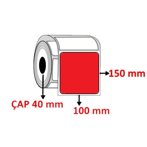 Kırmızı Renkli 100 mm x 150 mm Barkod Etiketi ÇAP 40 mm ( 6 Rulo ) 2.400 ADET