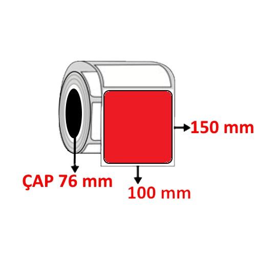 Kırmızı Renkli 100 mm x 150 mm Barkod Etiketi ÇAP 76 mm ( 6 Rulo )