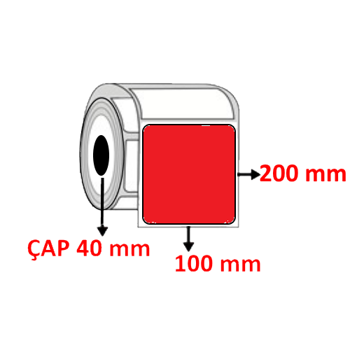 Kırmızı Renkli 100 mm x 200 mm Barkod Etiketi ÇAP 40 mm ( 6 Rulo ) 1800 ADET