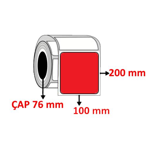 Kırmızı Renkli 100 mm x 200 mm Barkod Etiketi ÇAP 76 mm ( 6 Rulo ) 4.500 ADET