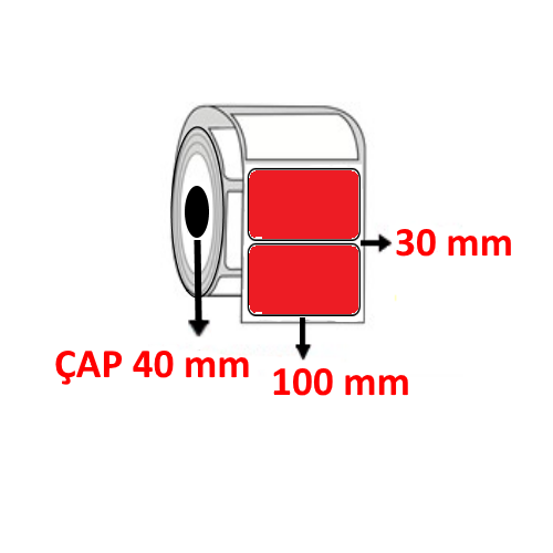 Kırmızı Renkli 100 mm x 30 mm Barkod Etiketi ÇAP 40 mm ( 6 Rulo )