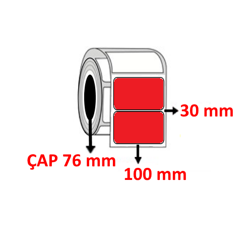 Kırmızı Renkli 100 mm x 30 mm Barkod Etiketi ÇAP 76 mm ( 6 Rulo ) 27.000 ADET