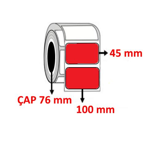 Kırmızı Renkli 100 mm x 45 mm Barkod Etiketi ÇAP 76 mm ( 6 Rulo )