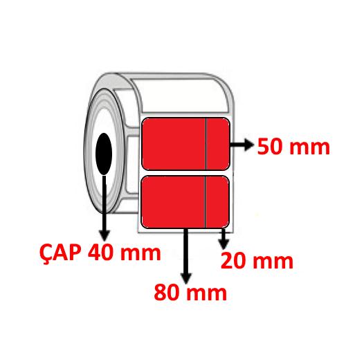 Kırmızı Renkli 100 mm x 50 (80+20) mm Barkod Etiketi ÇAP 40 mm ( 6 Rulo )