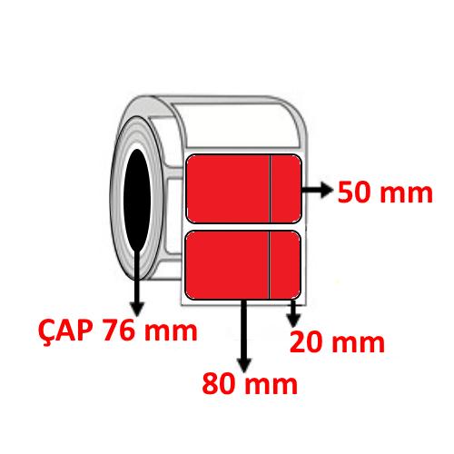 Kırmızı Renkli 100 mm x 50 mm (80+20) Barkod Etiketi ÇAP 76 mm ( 6 Rulo ) 18.000 ADET