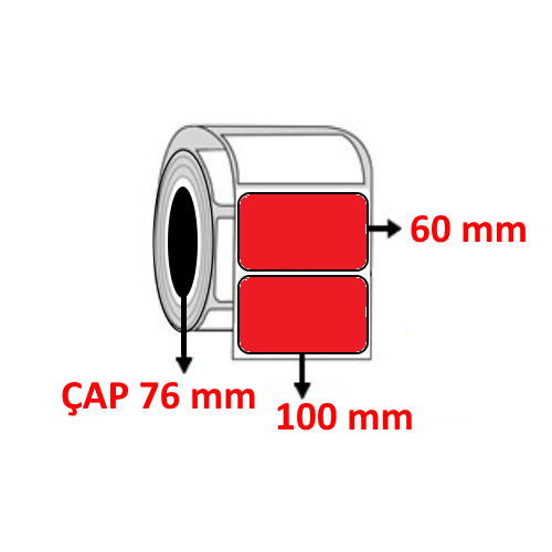 Kırmızı Renkli 100 mm x 60 mm Barkod Etiketi ÇAP 76 mm ( 6 Rulo ) 14.400 ADET
