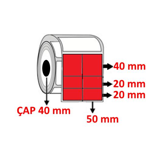 Kırmızı Renkli 100 mm x 80 mm (50/40+20+20) Barkod Etiketi ÇAP 40 mm ( 6 Rulo )