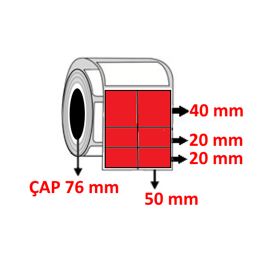 Kırmızı Renkli 100 mm x 80 mm (50/40+20+20) Barkod Etiketi ÇAP 76 mm ( 6 Rulo ) 12.000 ADET