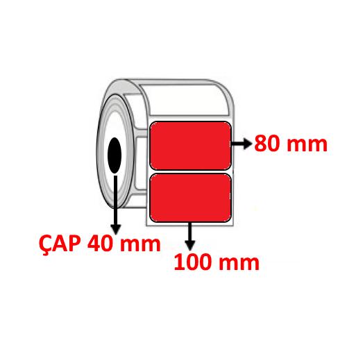 Kırmızı Renkli 100 mm x 80 mm Barkod Etiketi ÇAP 40 mm ( 6 Rulo ) 3.000 ADET
