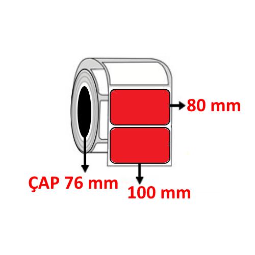 Kırmızı Renkli 100 mm x 80 mm Barkod Etiketi ÇAP 76 mm ( 6 Rulo ) 6.000 ADET
