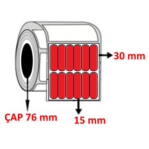 Kırmızı Renkli 15 mm x 30 mm YY6 LI Barkod Etiketi ÇAP 76 mm ( 6 Rulo ) 162.000 ADET