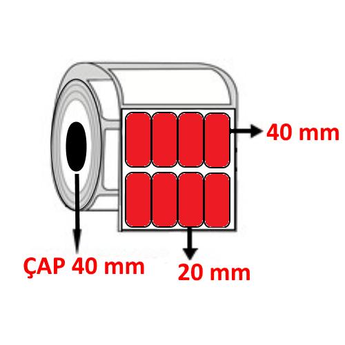 Kırmızı Renkli 20 mm x 40 mm YY4 LÜ Barkod Etiketi ÇAP 40 mm ( 6 Rulo )