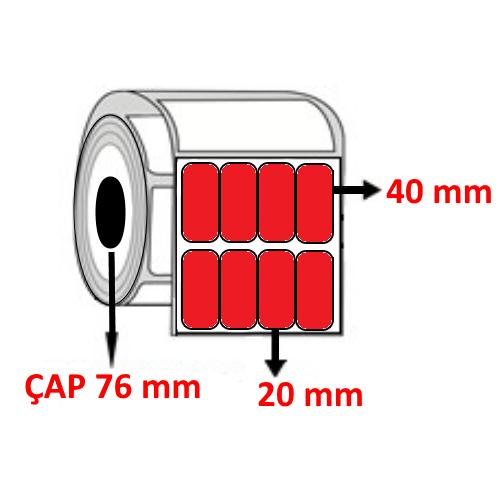 Kırmızı Renkli 20 mm x 40 mm YY4 LÜ Barkod Etiketi ÇAP 76 mm ( 6 Rulo )