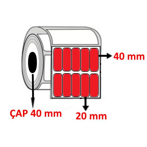 Kırmızı Renkli 20 mm x 40 mm YY5 Lİ Barkod Etiketi ÇAP 40 mm ( 6 Rulo ) 30.000 ADET