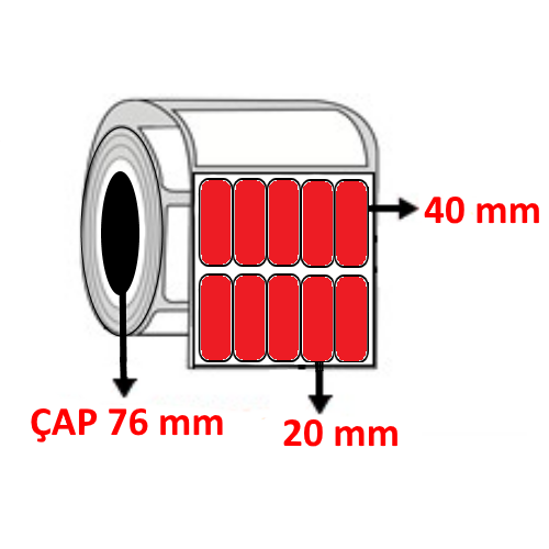 Kırmızı Renkli 20 mm x 40 mm YY5 Lİ Barkod Etiketi ÇAP 76 mm ( 6 Rulo ) 102.000 ADET