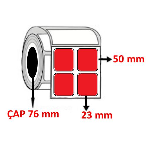 Kırmızı Renkli 23 mm x 50 mm YY2 Lİ Barkod Etiketi ÇAP 76 mm ( 6 Rulo ) 30.000 ADET