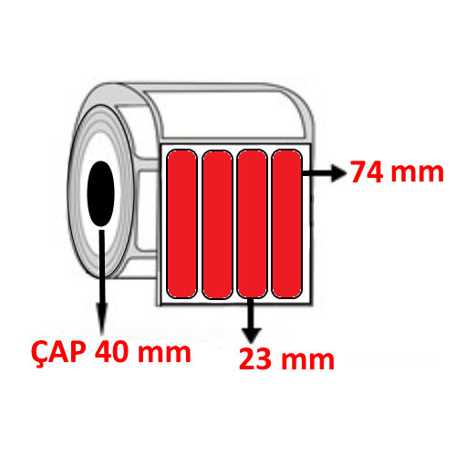 Kırmızı Renkli 23 mm x 74 mm YY4 LÜ Barkod Etiketi ÇAP 40 mm ( 6 Rulo )