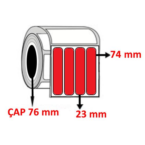 Kırmızı Renkli 23 mm x 74 mm YY4 LÜ Barkod Etiketi ÇAP 76 mm ( 6 Rulo )