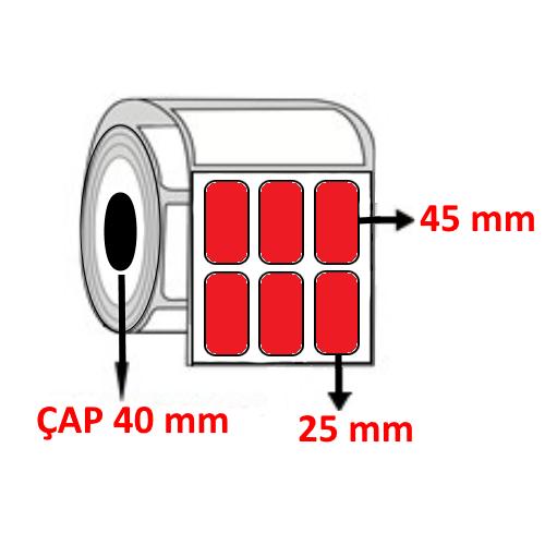 Kırmızı Renkli 25 mm x 45 mm YY3 LÜ Barkod Etiketi ÇAP 40 mm ( 6 Rulo ) 18.000 ADET