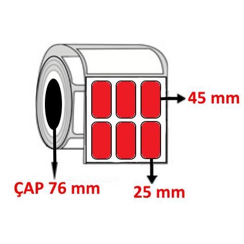 Kırmızı Renkli 25 mm x 45 mm YY3 LÜ Barkod Etiketi ÇAP 76 mm ( 6 Rulo )