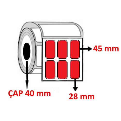 Kırmızı Renkli 28 mm x 45 mm YY3 LÜ Barkod Etiketi ÇAP 40 mm ( 6 Rulo )