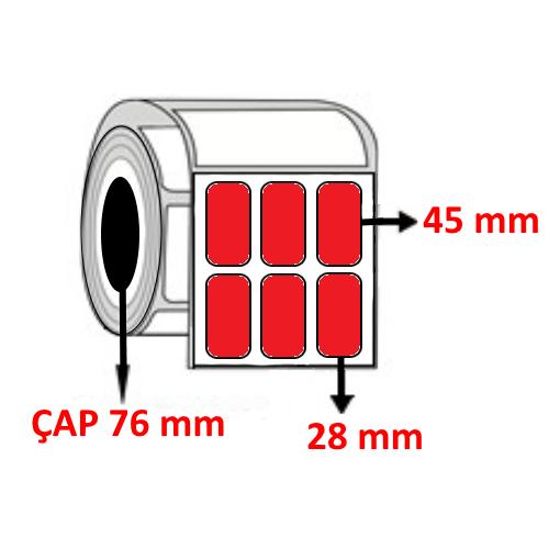 Kırmızı Renkli 28 mm x 45 mm YY3 LÜ Barkod Etiketi ÇAP 76 mm ( 6 Rulo )
