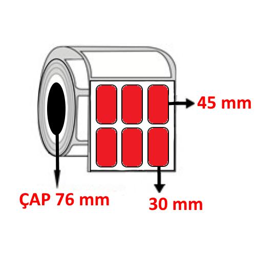 Kırmızı Renkli 30 mm x 45 mm YY3 LÜ Barkod Etiketi ÇAP 76 mm ( 6 Rulo ) 45.000 ADET
